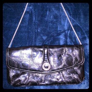 Brighton black patent leather evening handbag